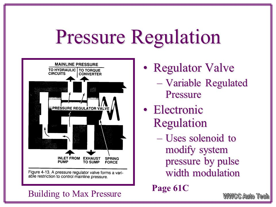 Governor Pressure Road Speed signalRoad Speed signal Opposes TV pressure to control shift pointsOpposes TV pressure to control shift points Driven by output shaftDriven by output shaft Higher speeds = Higher pressureHigher speeds = Higher pressure Electronic transmission use a PWM solenoidElectronic transmission use a PWM solenoid Governor TypesGovernor Types –Gear Driven Spool Valve TypeSpool Valve Type Check-ball TypeCheck-ball Type –Shaft Mounted Valves allow fluid to not bleed off the higher speed you go.Valves allow fluid to not bleed off the higher speed you go.