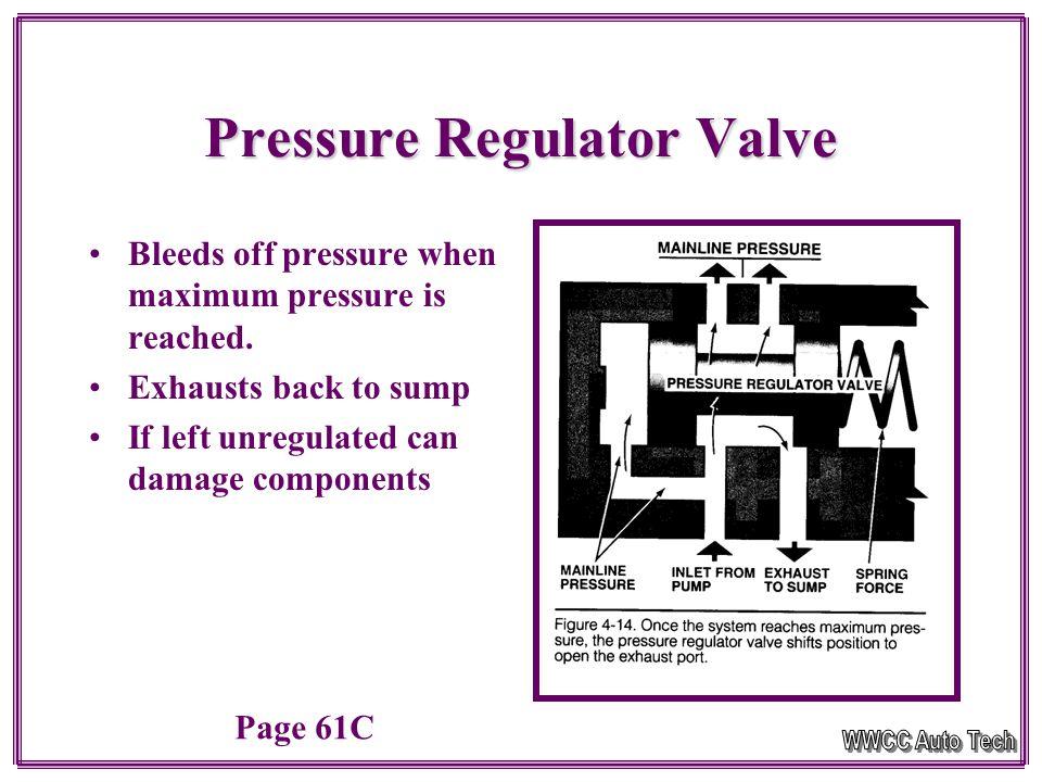 Pressure Regulation Regulator ValveRegulator Valve –Variable Regulated Pressure Electronic RegulationElectronic Regulation –Uses solenoid to modify system pressure by pulse width modulation Building to Max Pressure Page 61C