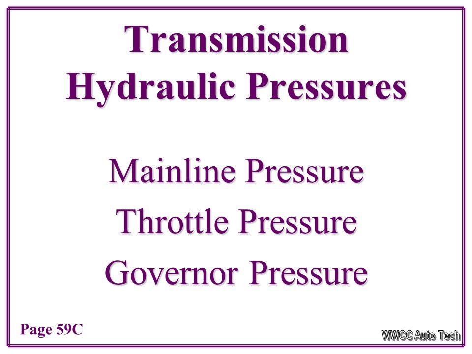 Transmission Hydraulic Pressures Mainline Pressure Throttle Pressure Governor Pressure Page 59C