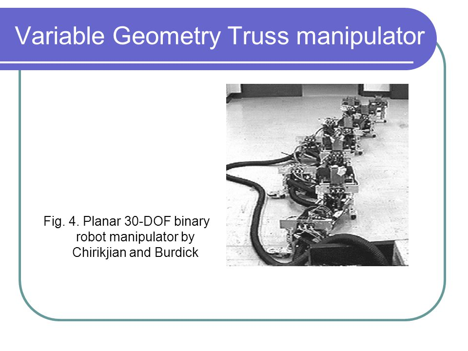 Variable Geometry Truss manipulator Fig. 4.