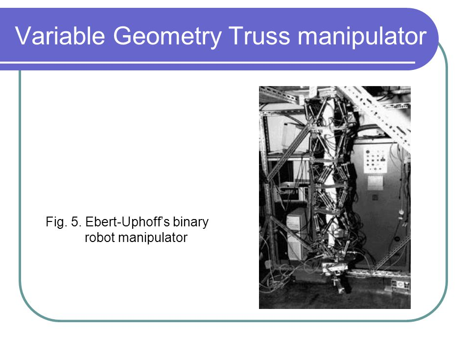 Variable Geometry Truss manipulator Fig. 5. Ebert-Uphoff's binary robot manipulator