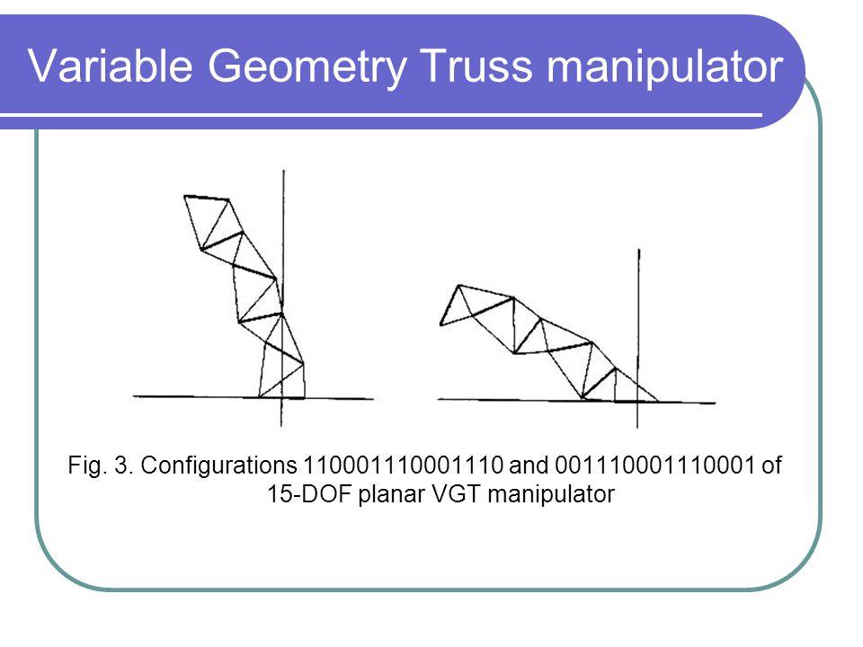 Variable Geometry Truss manipulator Fig. 3. Configurations 110001110001110 and 001110001110001 of 15-DOF planar VGT manipulator