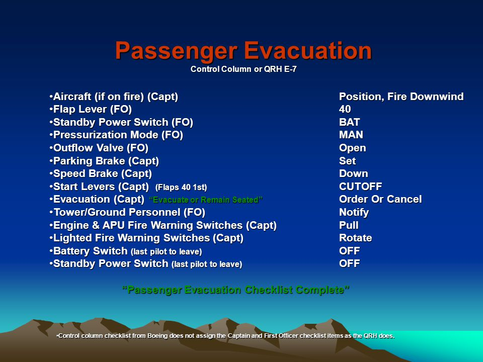 Passenger Evacuation Control Column or QRH E-7 Aircraft (if on fire) (Capt)Position, Fire DownwindAircraft (if on fire) (Capt)Position, Fire Downwind