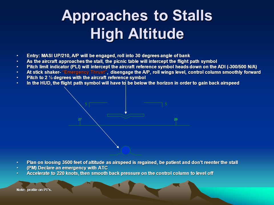 Approaches to Stalls High Altitude Entry: MASI UP/210, A/P will be engaged, roll into 30 degrees angle of bankEntry: MASI UP/210, A/P will be engaged,