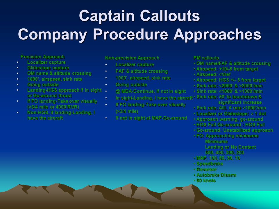 Captain Callouts Company Procedure Approaches Precision Approach Localizer captureLocalizer capture Glideslope captureGlideslope capture OM name & alt