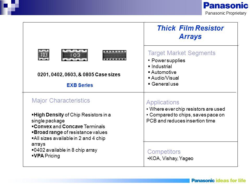 Panasonic Proprietary Target Market Segments Power supplies  Industrial  Automotive  Audio/Visual  General use Applications Where ever chip resist