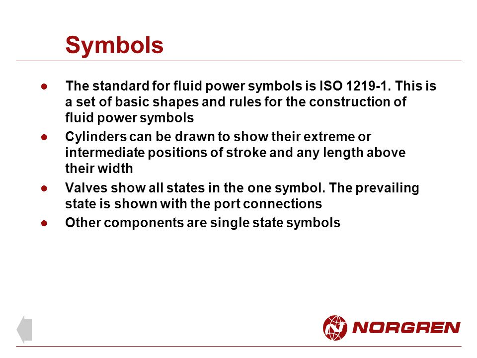 Symbols The standard for fluid power symbols is ISO 1219-1.