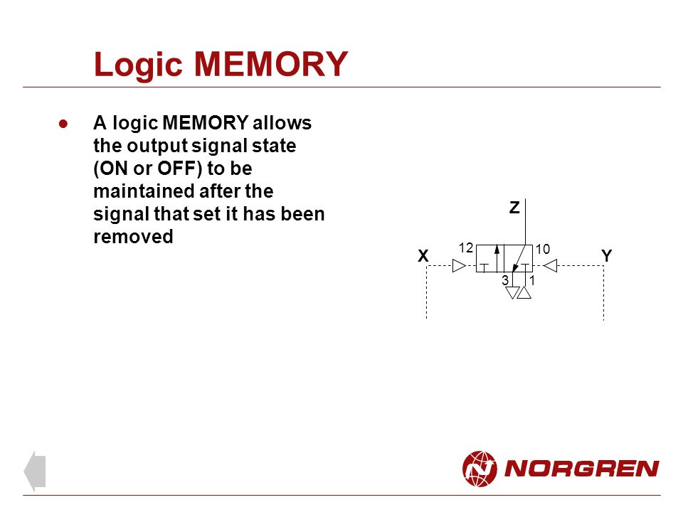 Logic MEMORY A logic MEMORY allows the output signal state (ON or OFF) to be maintained after the signal that set it has been removed Z X 13 12 10 Y