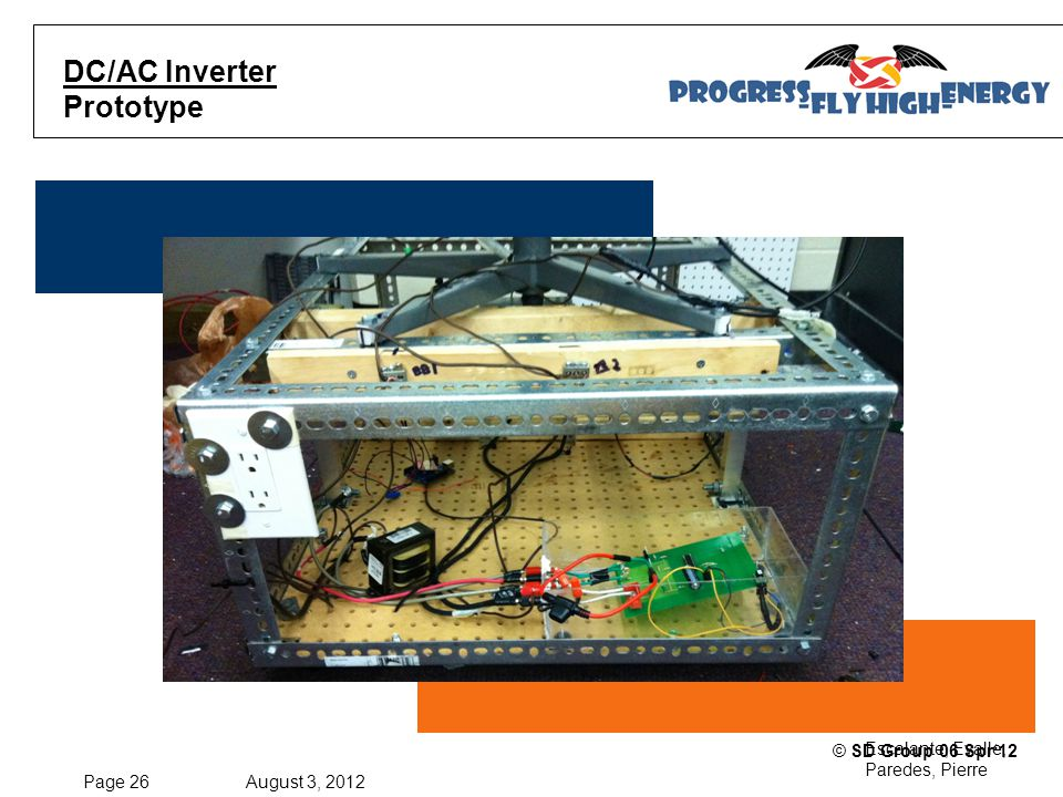 Page 26 August 3, 2012 Escalante, Evalle, Paredes, Pierre © SD Group 06 Spr'12 DC/AC Inverter Prototype