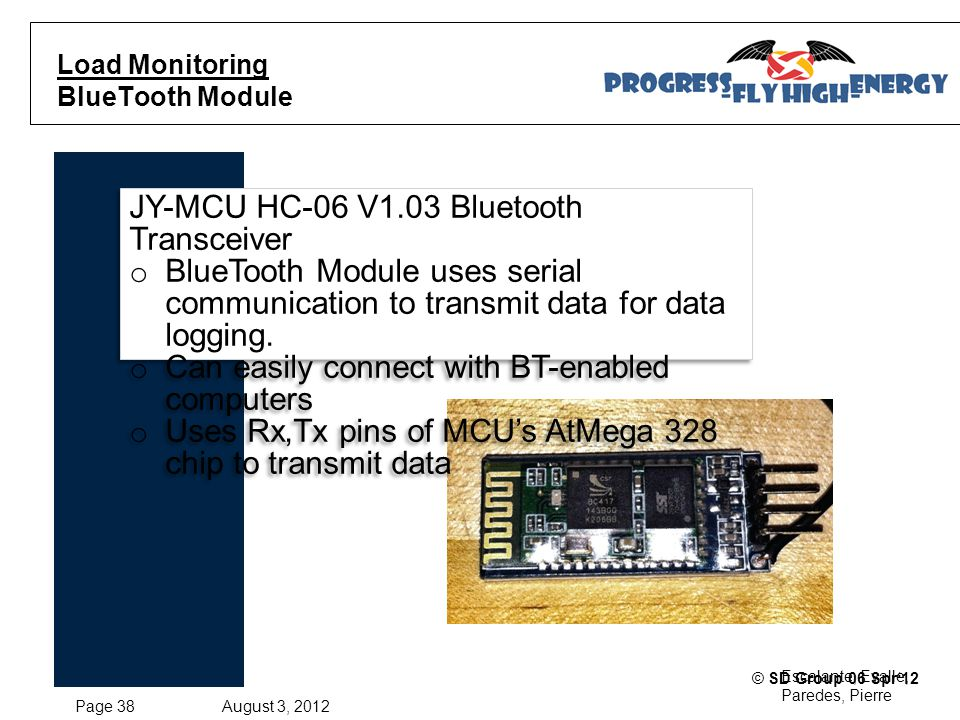 Page 38 August 3, 2012 Escalante, Evalle, Paredes, Pierre © SD Group 06 Spr'12 Load Monitoring BlueTooth Module JY-MCU HC-06 V1.03 Bluetooth Transceiver o BlueTooth Module uses serial communication to transmit data for data logging.