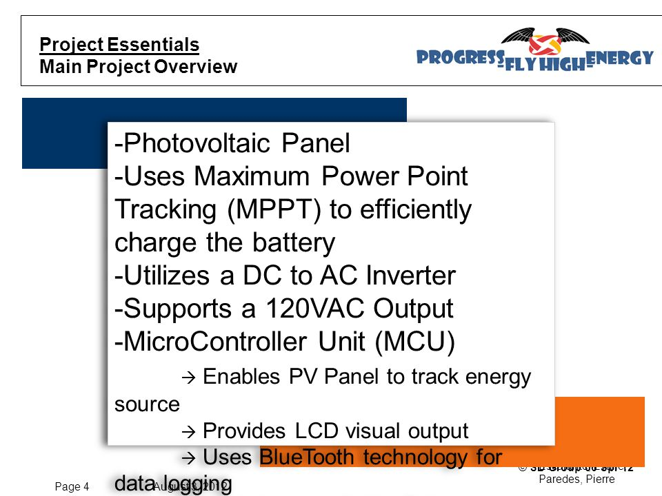 Page 15 August 3, 2012 Escalante, Evalle, Paredes, Pierre © SD Group 06 Spr'12 Component Information Battery Component  Andres E.