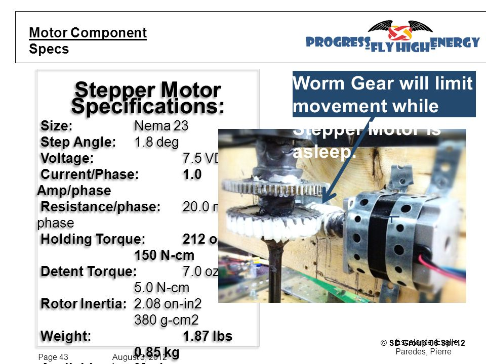 Page 43 August 3, 2012 Escalante, Evalle, Paredes, Pierre © SD Group 06 Spr'12 Stepper Motor Specifications: Size: Nema 23 Step Angle: 1.8 deg Voltage: 7.5 VDC Current/Phase: 1.0 Amp/phase Resistance/phase: 20.0 mH/ phase Holding Torque: 212 oz-in 150 N-cm Detent Torque: 7.0 oz-in 5.0 N-cm Rotor Inertia: 2.08 on-in2 380 g-cm2 Weight: 1.87 lbs 0.85 kg Available step Modes: Full, Half, Quarter, 1/8th and 1/16th Step Stepper Motor Specifications: Size: Nema 23 Step Angle: 1.8 deg Voltage: 7.5 VDC Current/Phase: 1.0 Amp/phase Resistance/phase: 20.0 mH/ phase Holding Torque: 212 oz-in 150 N-cm Detent Torque: 7.0 oz-in 5.0 N-cm Rotor Inertia: 2.08 on-in2 380 g-cm2 Weight: 1.87 lbs 0.85 kg Available step Modes: Full, Half, Quarter, 1/8th and 1/16th Step Motor Component Specs Worm Gear will limit movement while Stepper Motor is asleep.