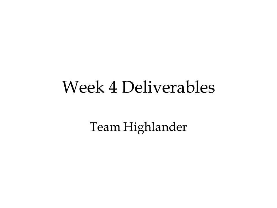 Week 4 Deliverables Team Highlander