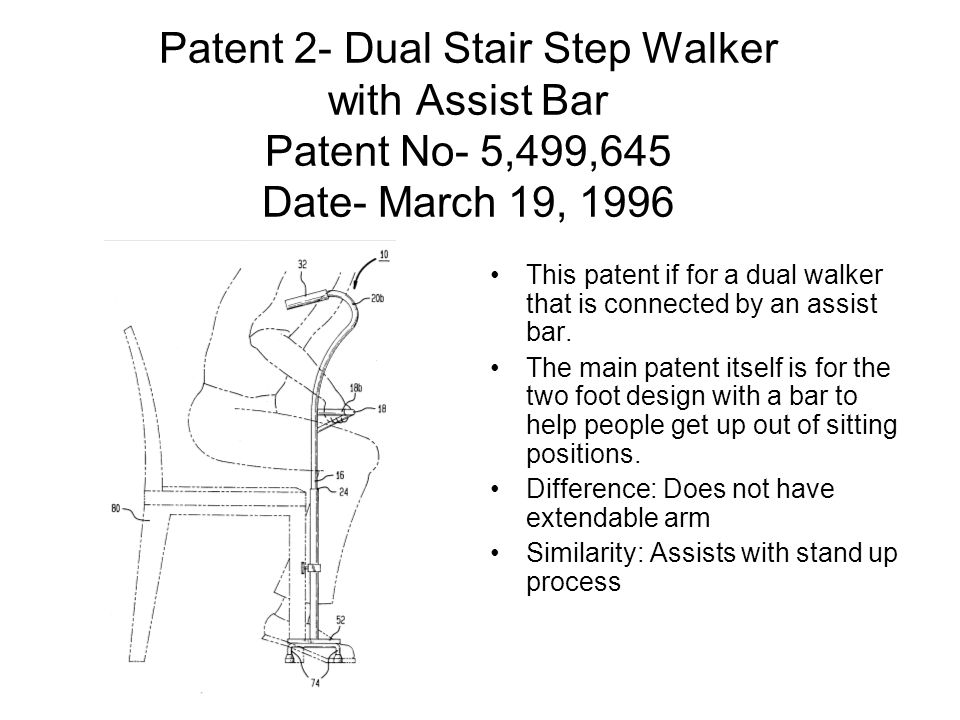 Patent 2- Dual Stair Step Walker with Assist Bar Patent No- 5,499,645 Date- March 19, 1996 This patent if for a dual walker that is connected by an assist bar.