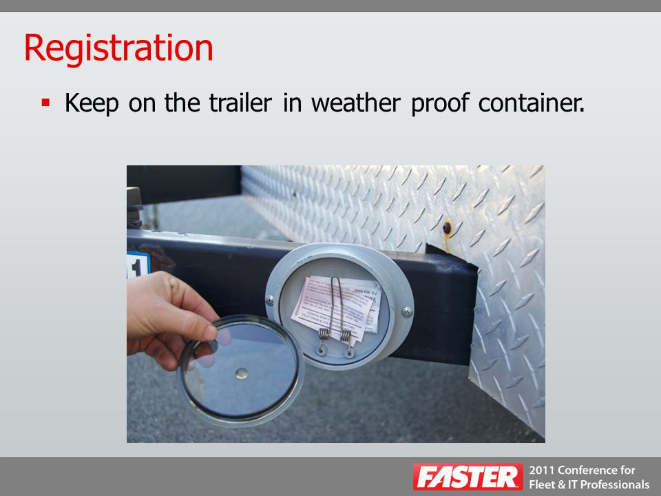Registration  Keep on the trailer in weather proof container.