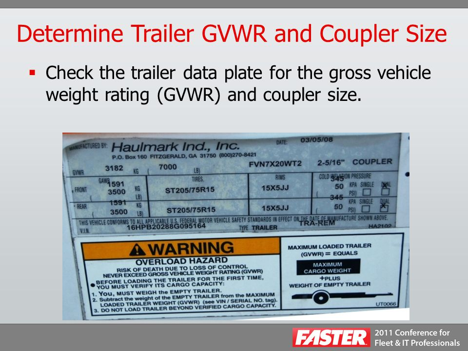Determine Trailer GVWR and Coupler Size  Check the trailer data plate for the gross vehicle weight rating (GVWR) and coupler size.