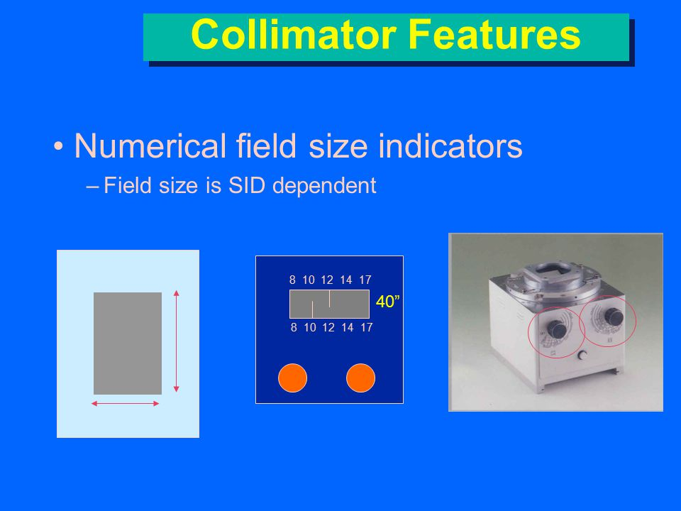 Collimator Features (crosshairs)Field center indicator (crosshairs) –plastic sheet attached to bottom of collimator »two black lines drawn on it –light projects field center on patient Bottom of Collimator Shutters Crosshairs
