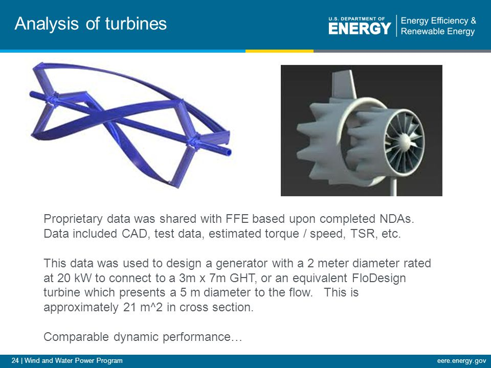 24 | Wind and Water Power Programeere.energy.gov Analysis of turbines Proprietary data was shared with FFE based upon completed NDAs. Data included CA