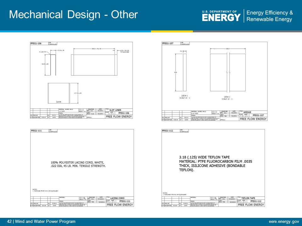 42 | Wind and Water Power Programeere.energy.gov Mechanical Design - Other