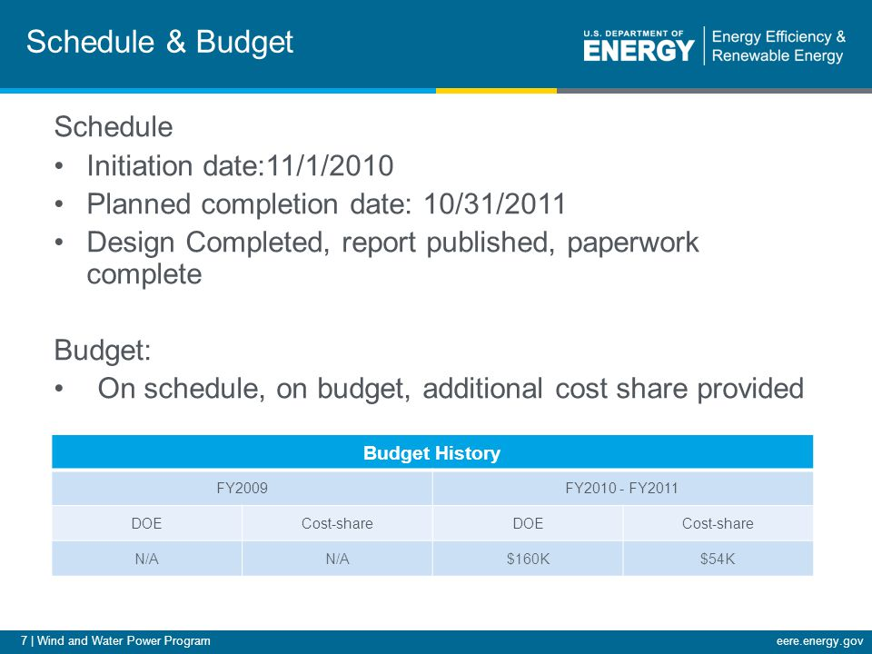 7 | Wind and Water Power Programeere.energy.gov Schedule & Budget Schedule Initiation date:11/1/2010 Planned completion date: 10/31/2011 Design Comple