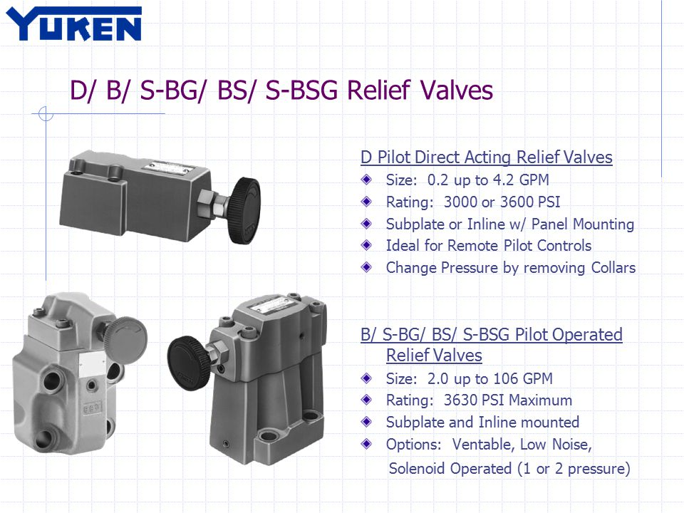 D/ B/ S-BG/ BS/ S-BSG Relief Valves D Pilot Direct Acting Relief Valves Size: 0.2 up to 4.2 GPM Rating: 3000 or 3600 PSI Subplate or Inline w/ Panel M
