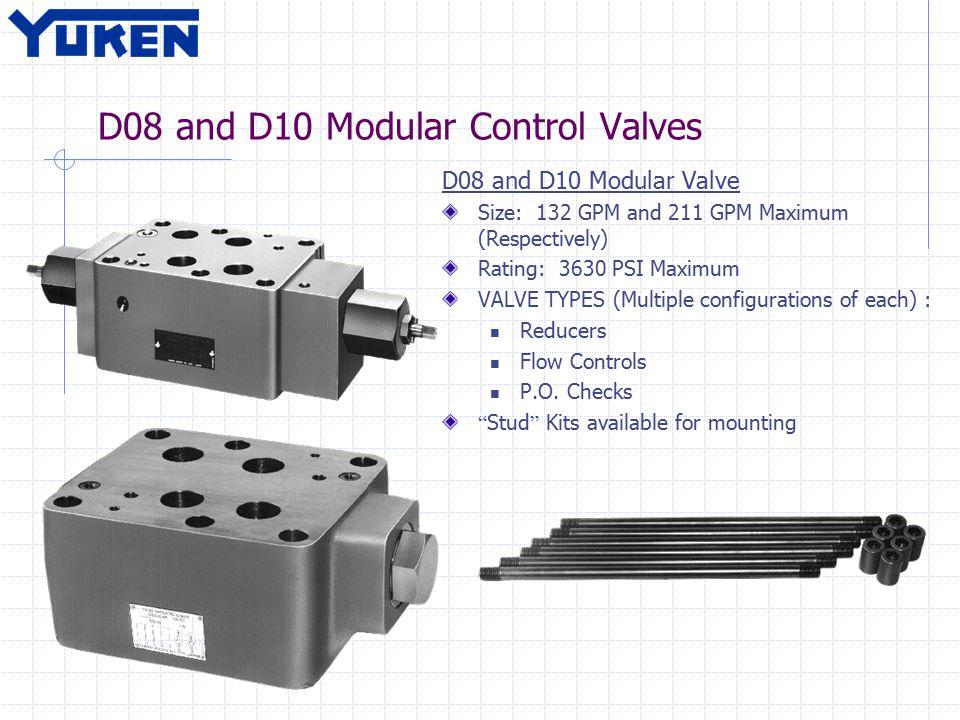 D08 and D10 Modular Control Valves D08 and D10 Modular Valve Size: 132 GPM and 211 GPM Maximum (Respectively) Rating: 3630 PSI Maximum VALVE TYPES (Mu