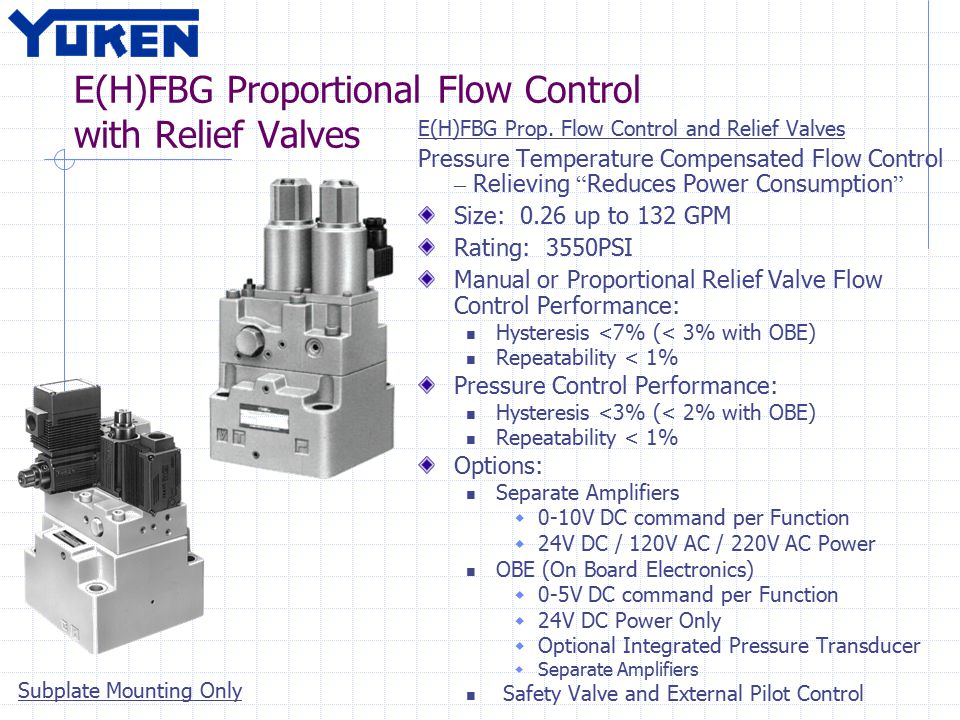 E(H)FBG Proportional Flow Control with Relief Valves E(H)FBG Prop.