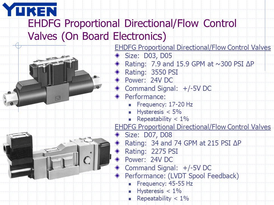 EHDFG Proportional Directional/Flow Control Valves (On Board Electronics) EHDFG Proportional Directional/Flow Control Valves Size: D03, D05 Rating: 7.9 and 15.9 GPM at ~300 PSI ΔP Rating: 3550 PSI Power: 24V DC Command Signal: +/-5V DC Performance: Frequency: 17-20 Hz Hysteresis < 5% Repeatability < 1% EHDFG Proportional Directional/Flow Control Valves Size: D07, D08 Rating: 34 and 74 GPM at 215 PSI ΔP Rating: 2275 PSI Power: 24V DC Command Signal: +/-5V DC Performance: (LVDT Spool Feedback) Frequency: 45-55 Hz Hysteresis < 1% Repeatability < 1%