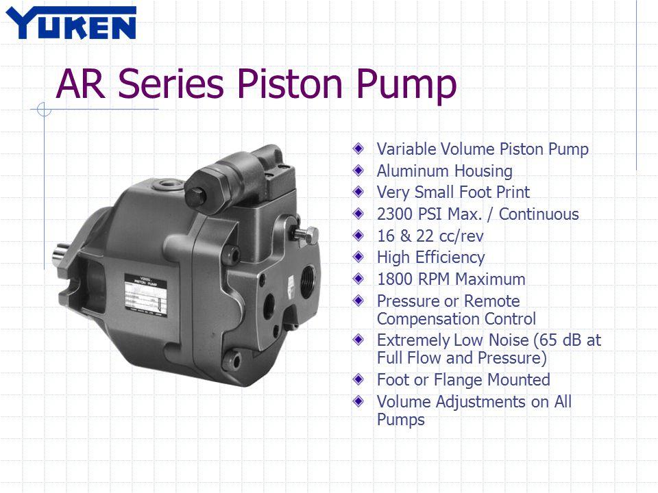 AR Series Piston Pump Variable Volume Piston Pump Aluminum Housing Very Small Foot Print 2300 PSI Max. / Continuous 16 & 22 cc/rev High Efficiency 180