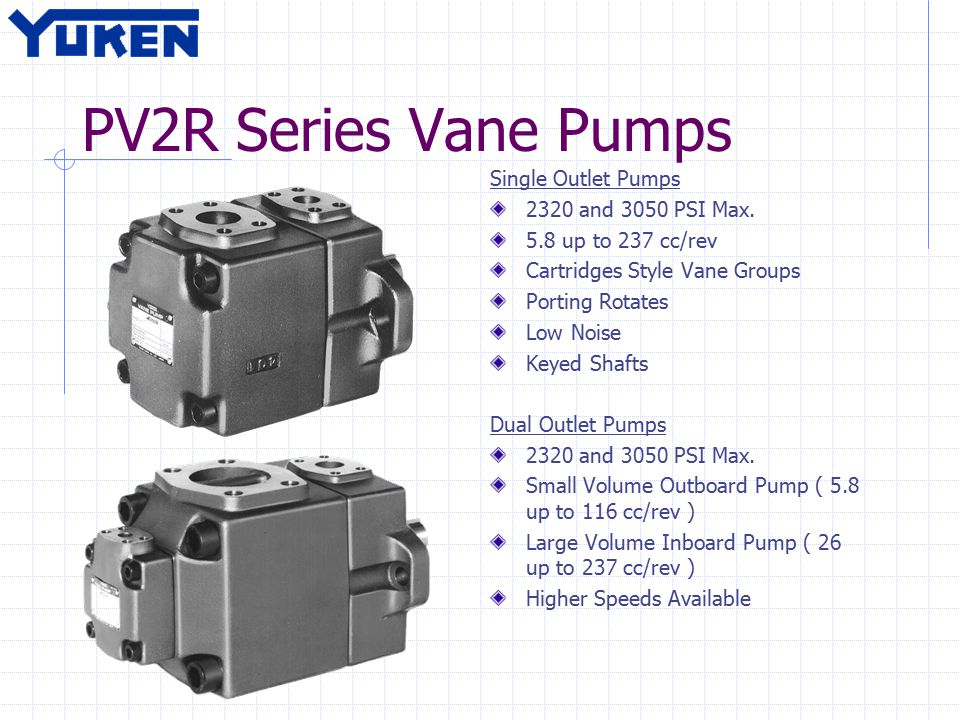 PV2R Series Vane Pumps Single Outlet Pumps 2320 and 3050 PSI Max.