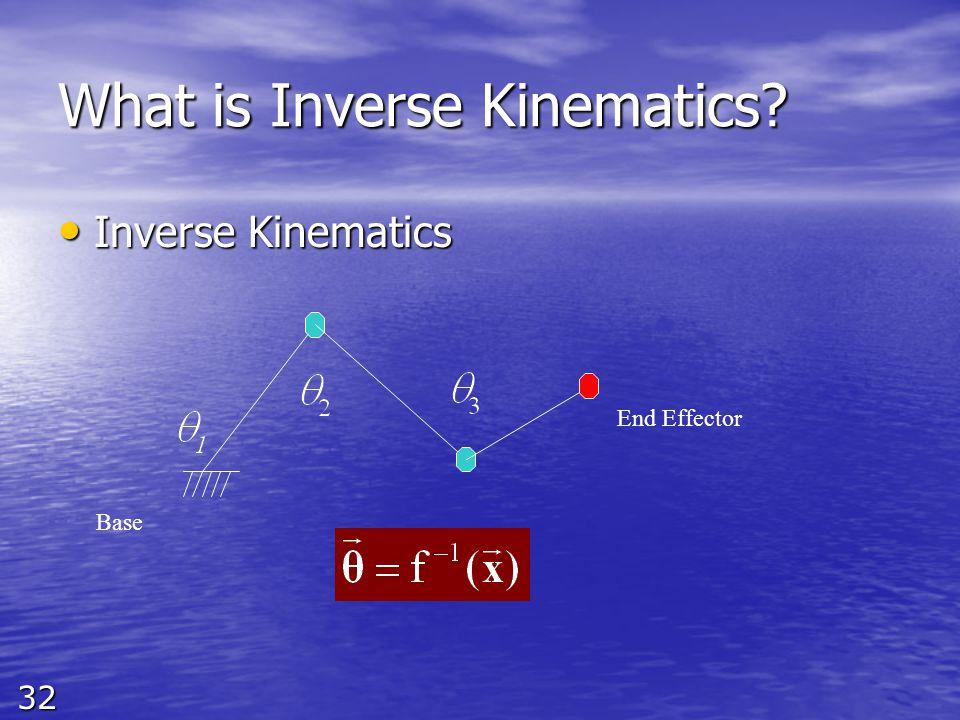 32 What is Inverse Kinematics Inverse Kinematics Inverse Kinematics Base End Effector