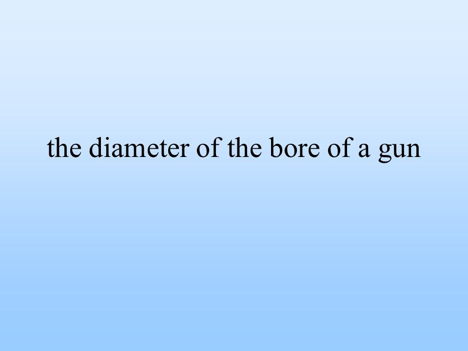 the diameter of the bore of a gun