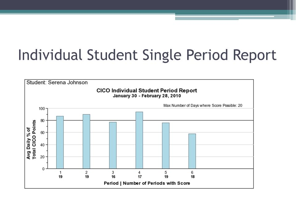 Individual Student Single Period Report