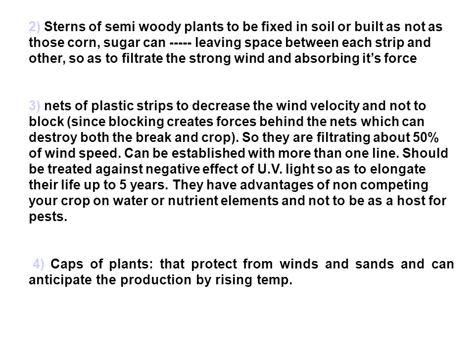 2) Sterns of semi woody plants to be fixed in soil or built as not as those corn, sugar can ----- leaving space between each strip and other, so as to filtrate the strong wind and absorbing it's force 3) nets of plastic strips to decrease the wind velocity and not to block (since blocking creates forces behind the nets which can destroy both the break and crop).
