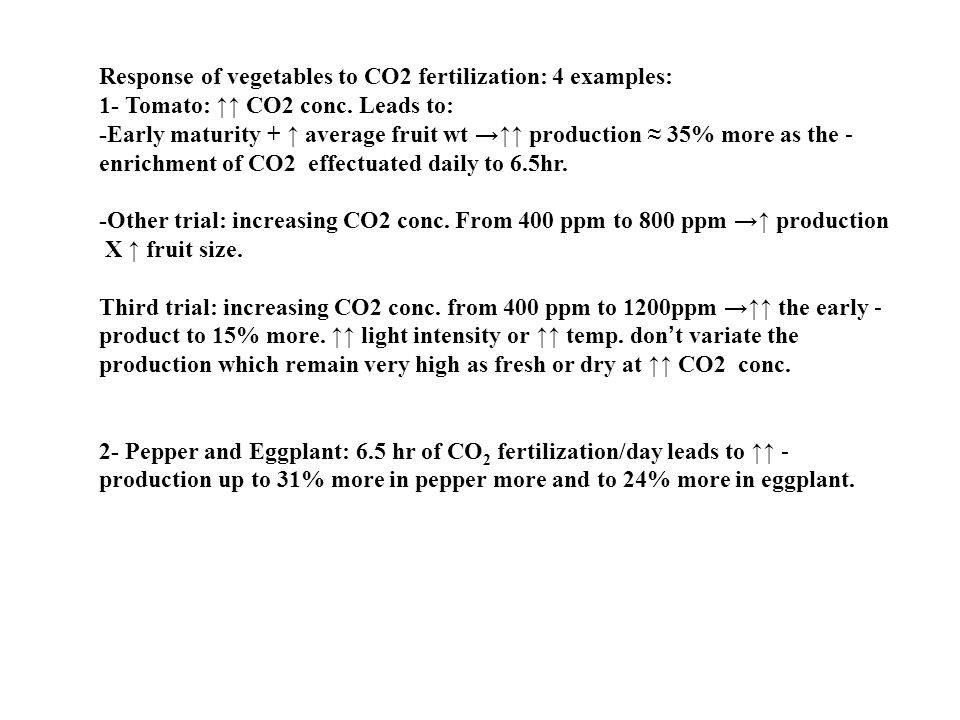 Response of vegetables to CO2 fertilization: 4 examples: 1- Tomato: ↑↑ CO2 conc.