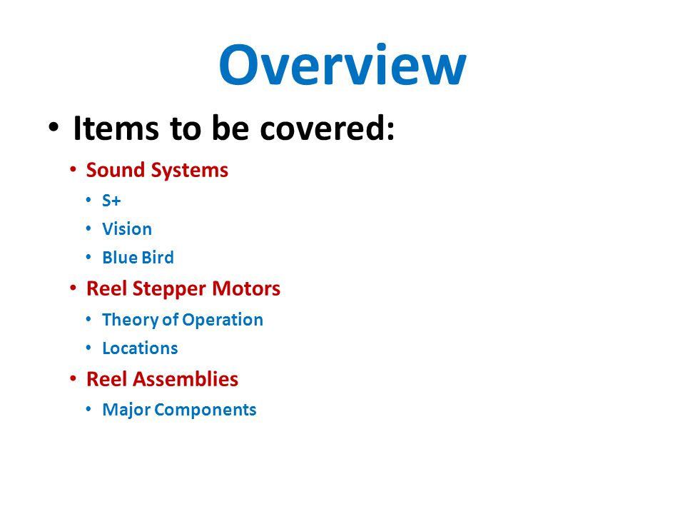 Sound Systems Range of implementations S+ Part of S+ Maintenance Video on Sound subsystem About 80% point Maintenance VideoMaintenance Video Vision Part of Vision overview video About 70% point Overview VideoOverview Video Blue Bird Back trace audio cables from the Bose speakers
