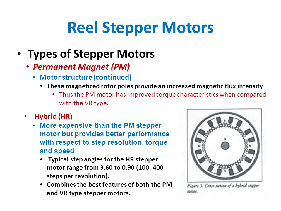 Reel Stepper Motors Types of Stepper Motors Permanent Magnet (PM) Motor structure (continued) These magnetized rotor poles provide an increased magnetic flux intensity Thus the PM motor has improved torque characteristics when compared with the VR type.