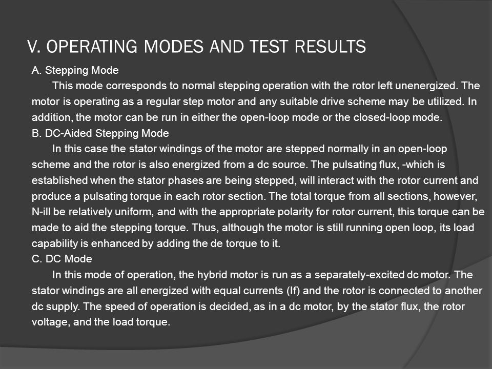 V. OPERATING MODES AND TEST RESULTS A.