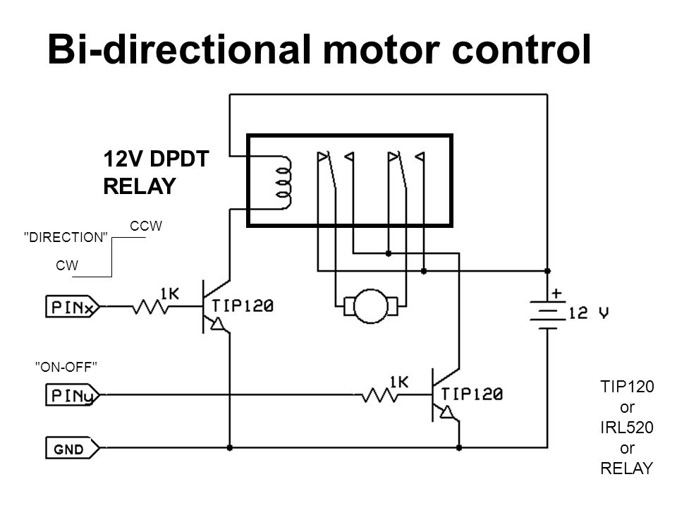 Bi-directional motor control 12V DPDT RELAY CCW CW DIRECTION ON-OFF TIP120 or IRL520 or RELAY GND