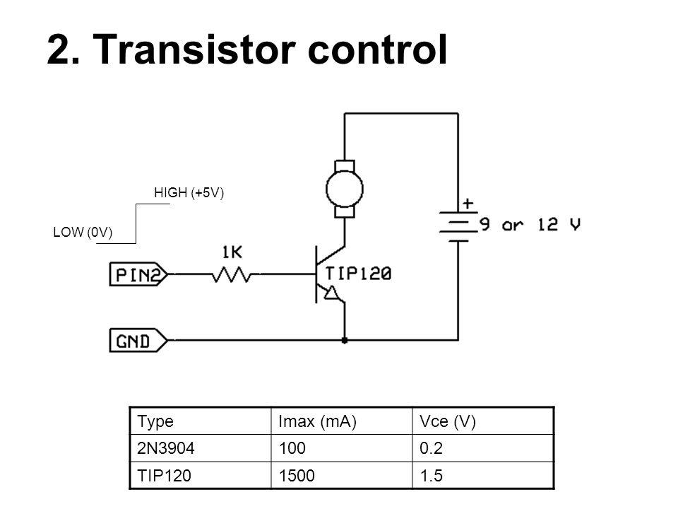 2. Transistor control TypeImax (mA)Vce (V) 2N39041000.2 TIP12015001.5 HIGH (+5V) LOW (0V)