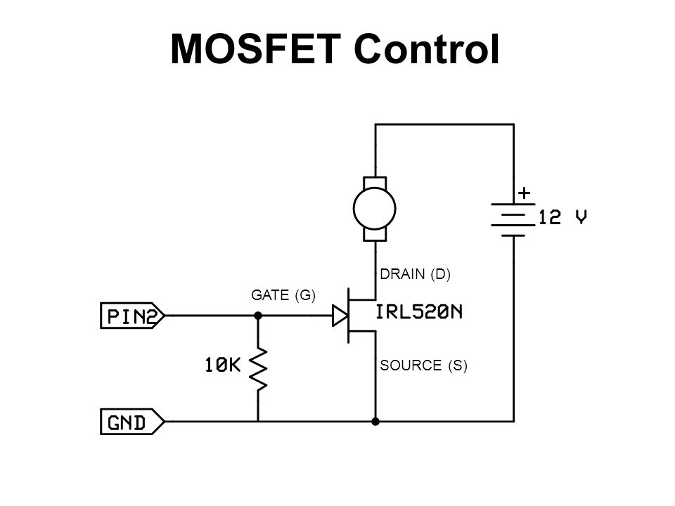MOSFET Control DRAIN (D) SOURCE (S) GATE (G)