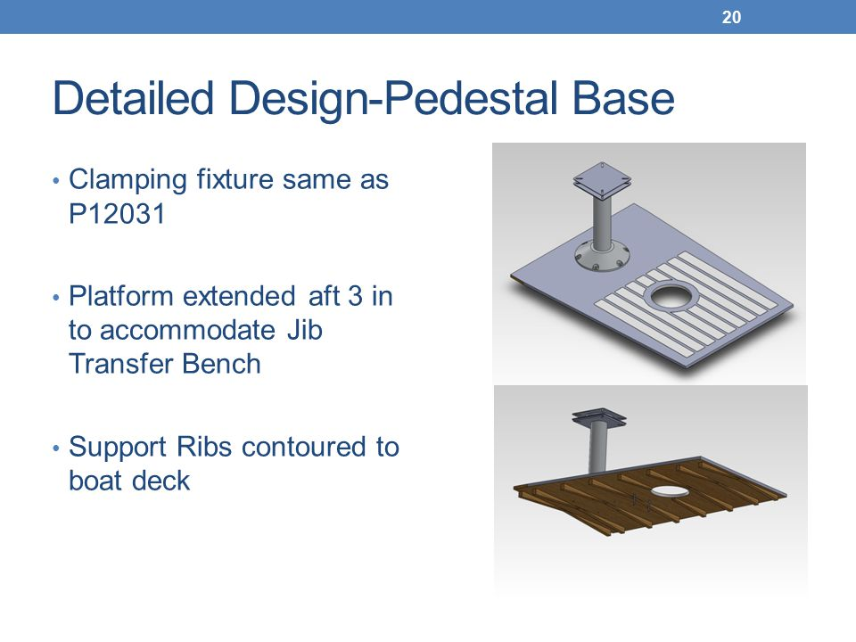 Detailed Design-Pedestal Base Clamping fixture same as P12031 Platform extended aft 3 in to accommodate Jib Transfer Bench Support Ribs contoured to boat deck 20