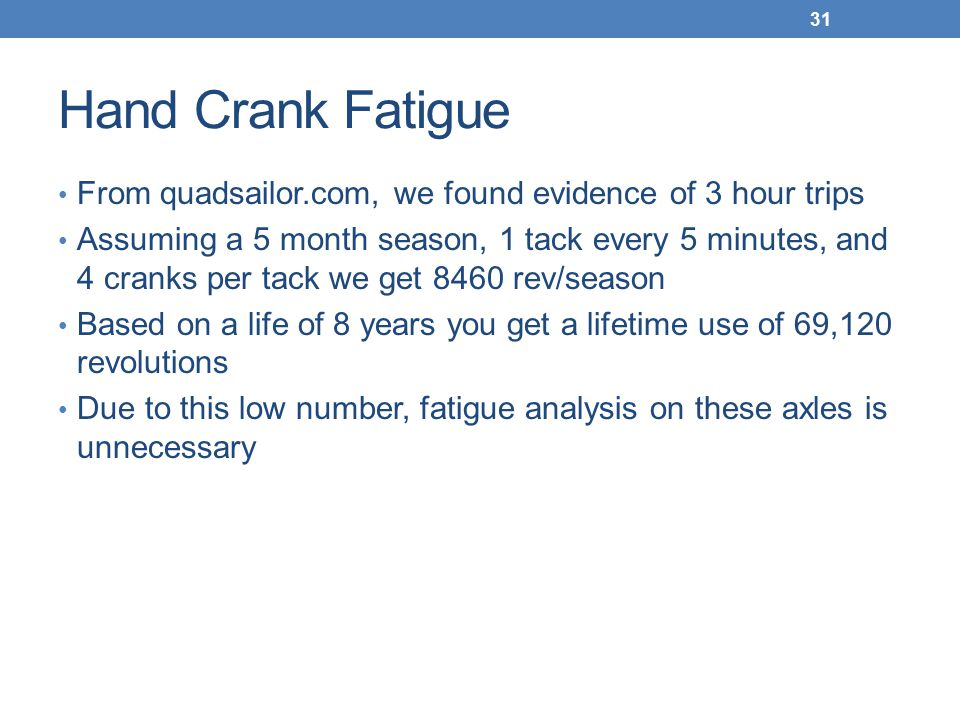 Hand Crank Fatigue From quadsailor.com, we found evidence of 3 hour trips Assuming a 5 month season, 1 tack every 5 minutes, and 4 cranks per tack we get 8460 rev/season Based on a life of 8 years you get a lifetime use of 69,120 revolutions Due to this low number, fatigue analysis on these axles is unnecessary 31
