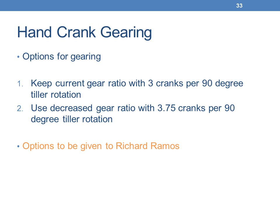 Hand Crank Gearing Options for gearing 1.