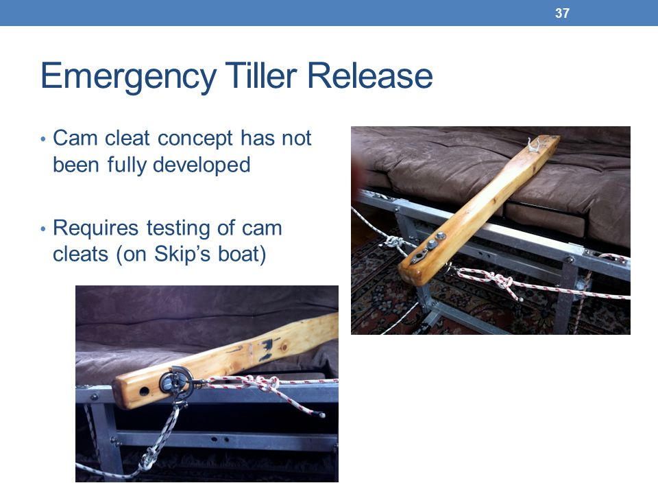 Emergency Tiller Release Cam cleat concept has not been fully developed Requires testing of cam cleats (on Skip's boat) 37