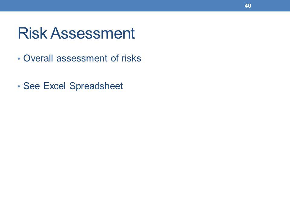 Risk Assessment Overall assessment of risks See Excel Spreadsheet 40