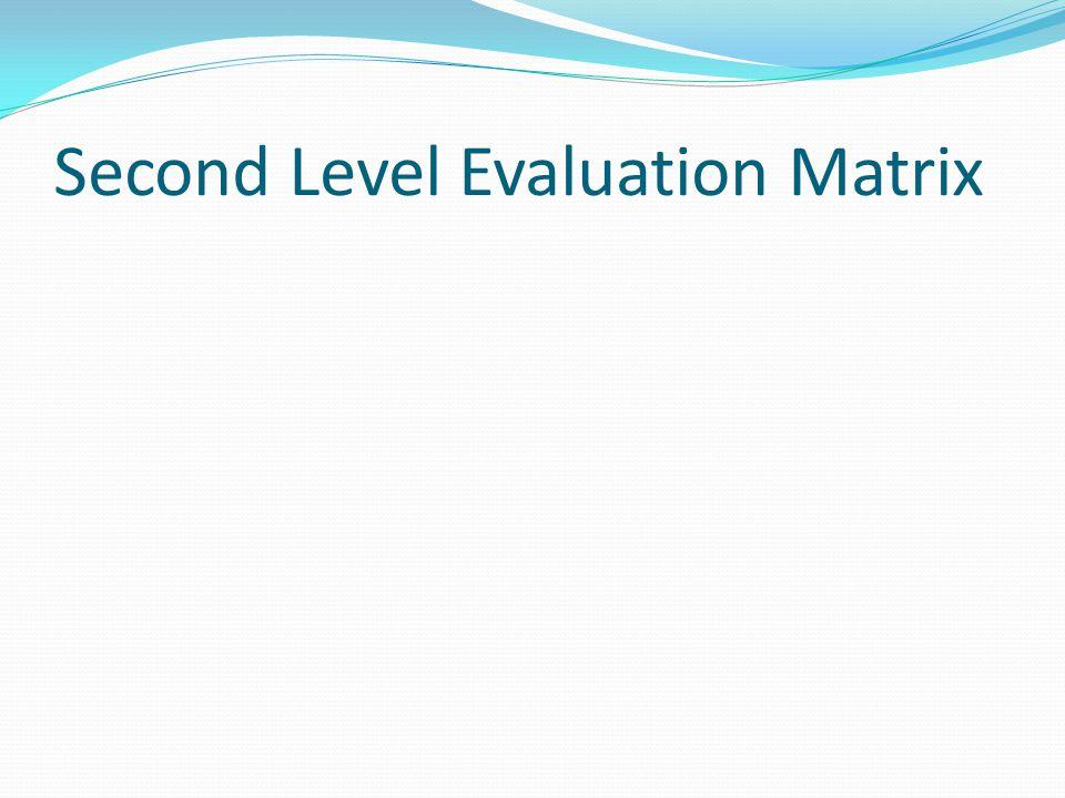 Second Level Evaluation Matrix
