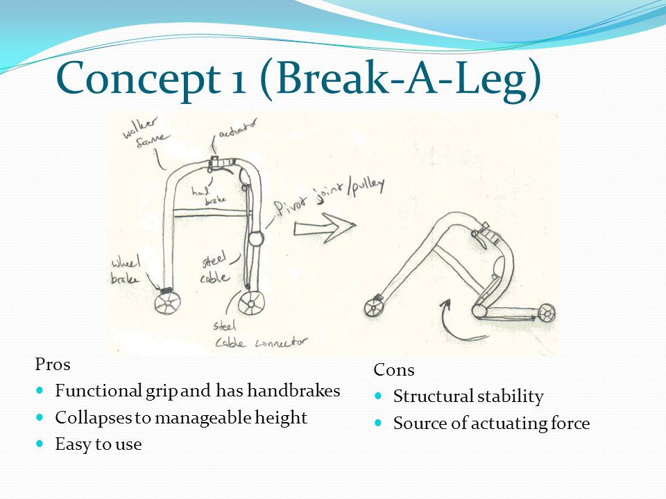 Concept 1 (Break-A-Leg) Pros Functional grip and has handbrakes Collapses to manageable height Easy to use Cons Structural stability Source of actuati