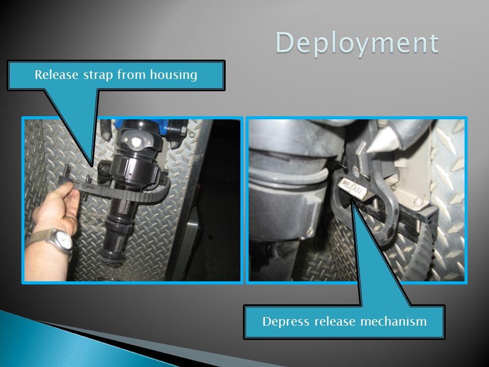 Release strap from housing Depress release mechanism