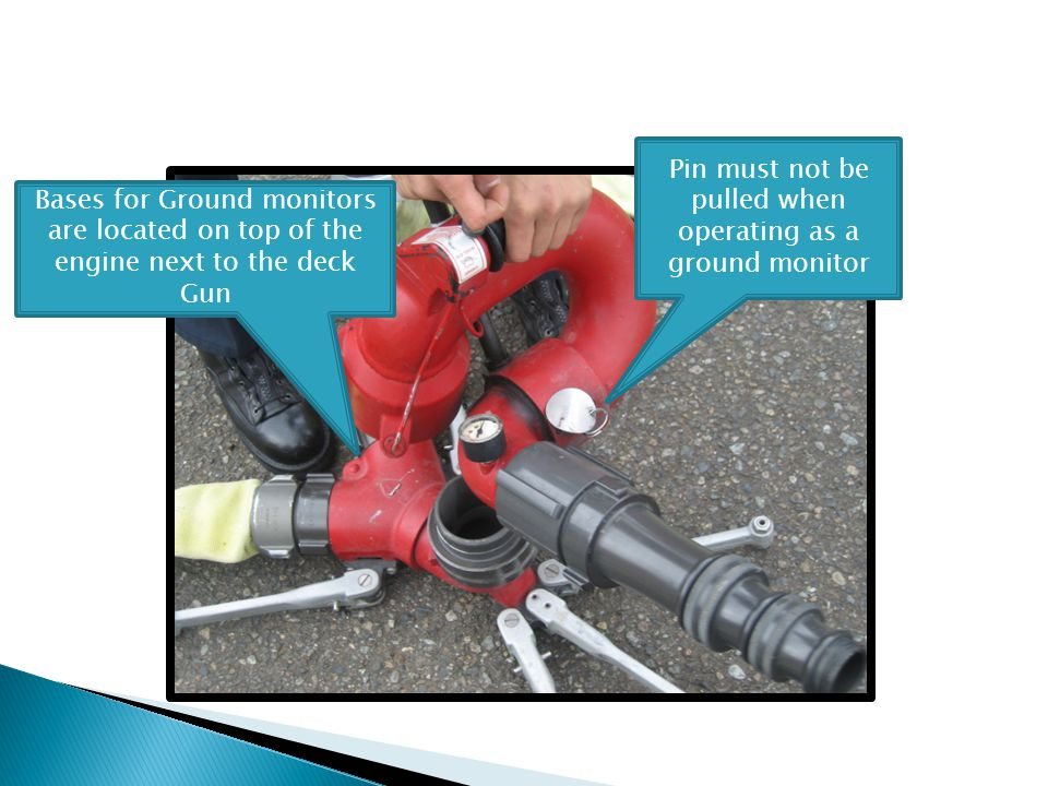 Bases for Ground monitors are located on top of the engine next to the deck Gun Pin must not be pulled when operating as a ground monitor